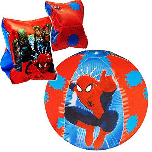 alles-meine.de GmbH Set _ Schwimmflügel / Schwimmärmel + Wasserball - aufblasbar - Spider-Man - 2 bis 9 Jahre - jeweils 2 Luftkammern ! - Schwimmhilfe - Ball für Jungen Junge - K..