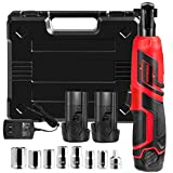 Goplus Cordless 3/8' Electric Ratchet Wrench Set w/ 2 Pack 2000mAh Lithium-Ion Battery, 12V Power Ratchet Tool Kit w/ 1-piece 1/4' Socket Adapter and 7-piece 3/8' Metric Sockets, Carrying Case
