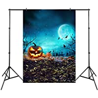 Varmax 5x7ft Halloween Backdrop for Photography with Pumpkin and Bats