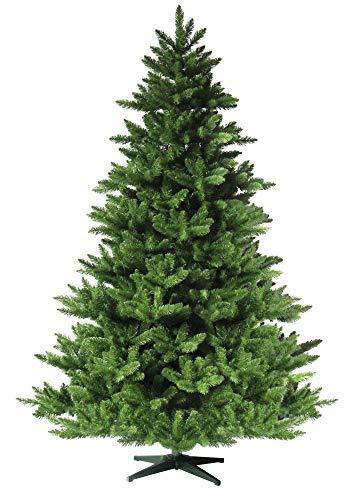 RS Trade HXT 19001 künstlicher Weihnachtsbaum 210 cm (Ø ca. 146 cm) mit 1910 Spitzen und Schnellaufbau Klapp-Schirmsystem, schwer entflammbar, unechter Tannenbaum inkl. Metall Christbaum Ständer