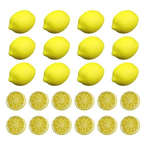 HanOBC 24 STKS Kunstmatige Citroenen en Limes Plakjes Realistische Faux Citrus Fruit Model Simulatie Levensechte Nep Citroen voor Thuis Huis Keuken Party Decoratie