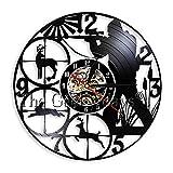 Zhoulv Caza a lo Largo del Lago Récord de Vinilo Reloj de Pared Creativo al Aire Libre Tema Animal Decorativo...