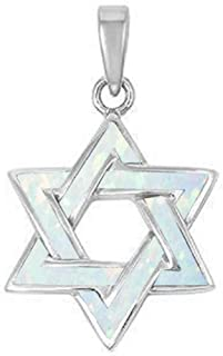Lab Created Opal Star of David .925 Sterling Silver Pendant Blue or White