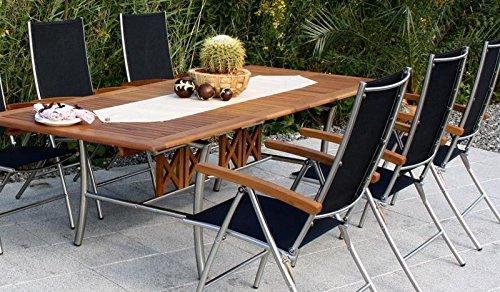 6 + 1 Gartenmöbel-Set / Sitz-garnitur aus Edelstahl und hochwertigem Robinien-holz: 6 x Klapp-Stuhl Hochlehnern
