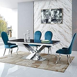 Table À Manger Lea, Verre, Acier, Rectangulaire, Style Baroque, 180 x 90 x 75 cm