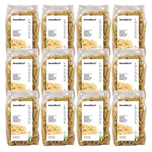 AmoreTerra (12 Pz.) Pasta artigianale Maccheroni biologica Senatore Cappelli 500g, pasta artigianale grani antichi bio trafilata al bronzo lenta essiccazione statica