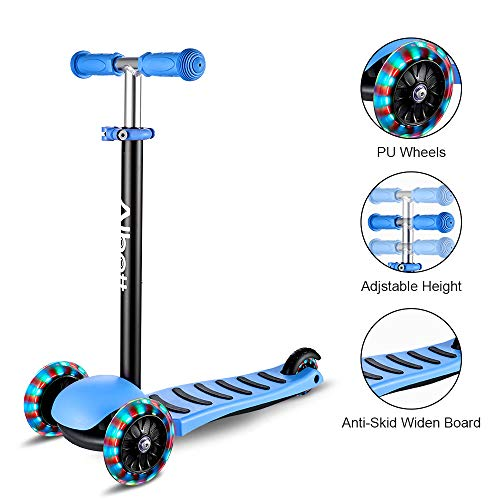 Albott 3 Wheels Kick Scooter for Kids Toddlers Scooter with PU LED Flashing Wheels, Lean to Steer, Adjustable Height for Children Boys & Girls from 3 to 10 Year Old (Blue)