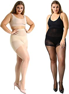 High Waist Tights, Manzi Plus Size Stockings for Women Girls Super Opaque Thigh-High Stockings Pantyhose 2 Pairs