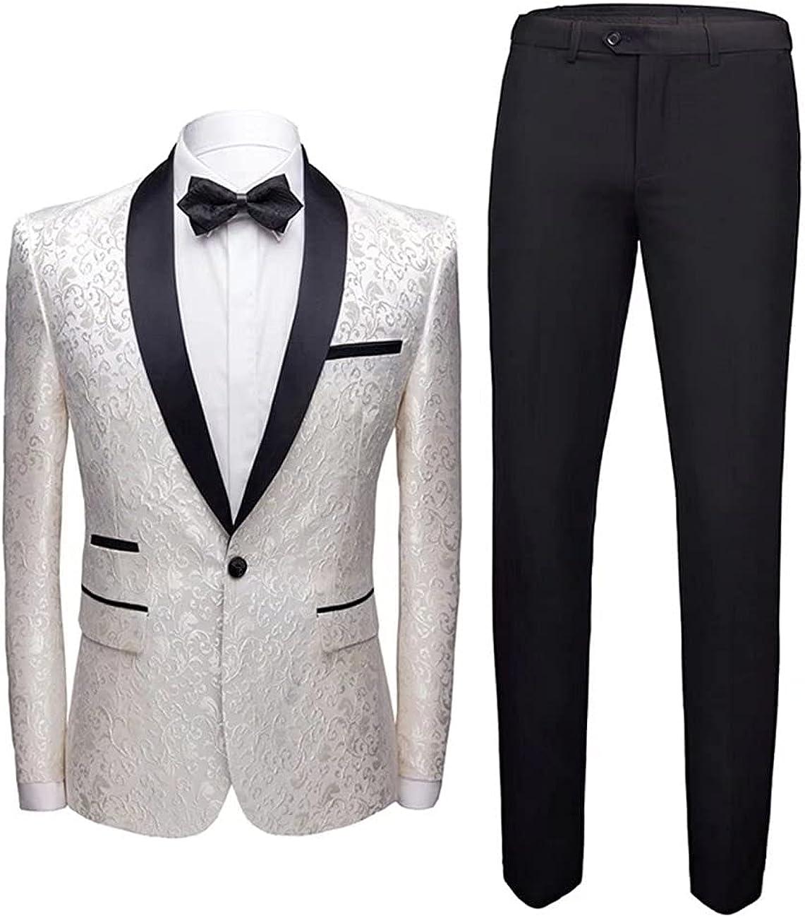 Wangyue Men's 2 Piece Suit Set Slim Fit Floral Jacquard Printed Single Breasted Tuxedo Blazer Jacket+Pants