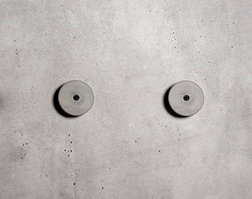 anaan Decimal Design Wandhaken Garderobenhaken Wandgarderoben aus Beton rund Industrial Style Geometrische Wanddeko (2er Set grau S)