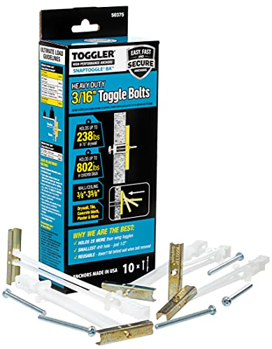 TOGGLER SNAPTOGGLE BA Toggle Anchor with Bolts, Zinc-Plated Steel Channel, Made in US, 3/8
