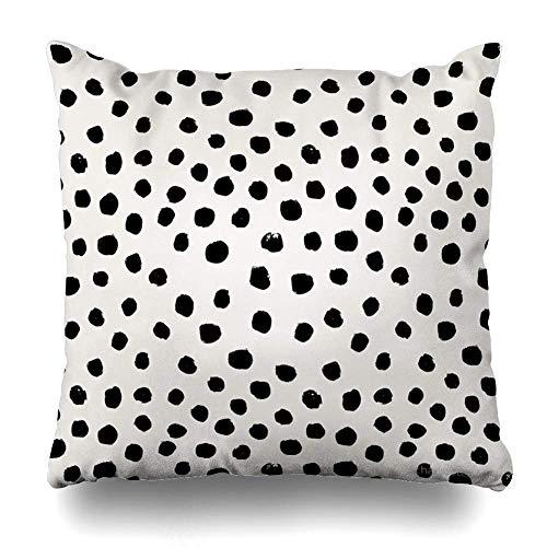 Throw Pillow Cover Square 45X45CM Preppy Brushstroke Free Polka Dots Black and White Spots Dots Dalmation Animal Spots Design Minimal Decorative Pillow Case Home Decor Pillowcase