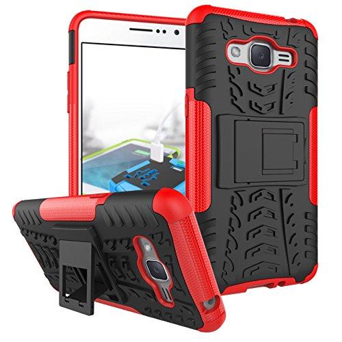 Coque pour Galaxy Grand Prime ,Double Couche Antichoc Protection avec Support Coque pour Samsung SM-G530AZ Galaxy Grand Prime / SM-G530FZ SM-G530P SM-G530H SM-G530M SM-G530Y Coque Etui Cover Red