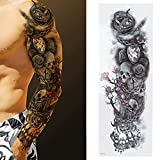 Tatuajes temporales impermeables de brazo completo Unisex para hombres y mujeres, tatuajes temporales extra grandes, pegatina de tatuaje impermeable de Color brillante(TQB-007)