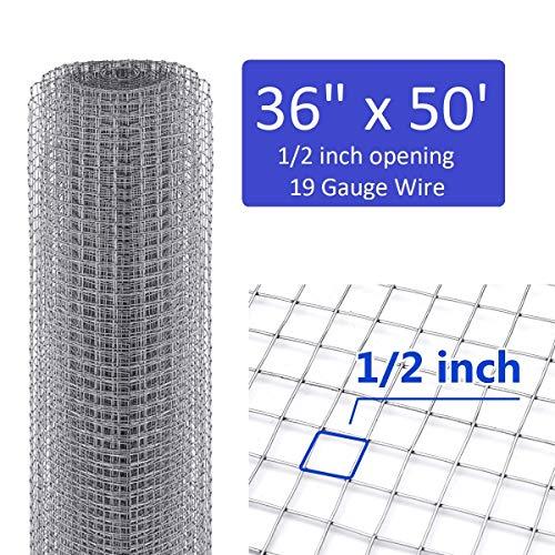 36 inch x 50 Foot Hardware Cloth 1/2 inch mesh 19 Gauge Hardware Cloth Galvanized Cage Mesh Rolls Square Chicken Wire Netting Garden Enclosure Fence