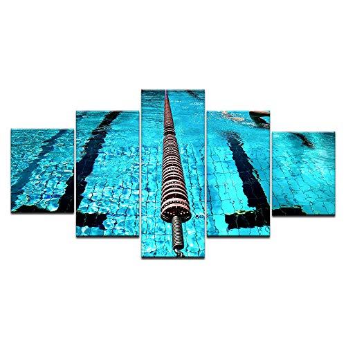 INFANDW Wandkunst Leinwand Schwimmbad Leinwanddrucke 5 Panels Gemälde Artwork Muster 150x80cm Poster Drucke Auf Leinwand Modern Für Home Decor Wohnzimmer Schlafzimmer (Kein Rahmen)