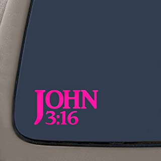 John 3:16 Bible Verse Decal Sticker | 7.5-Inches By 4-Inches | Religious Motivational Inspirational Educational | Car Laptop Van SUV Macbook Truck | Premium Quality Hot Pink Vinyl | DD779HP