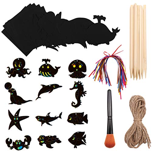 EXCEART 1 Satz 94 Stück DIY Papier Bastelsets Kratzpapier Kunst Set Kratzmalpapier mit Werkzeugen für Kinder Geschenk DIY Kunst Handwerk Projekt Party Dekoration