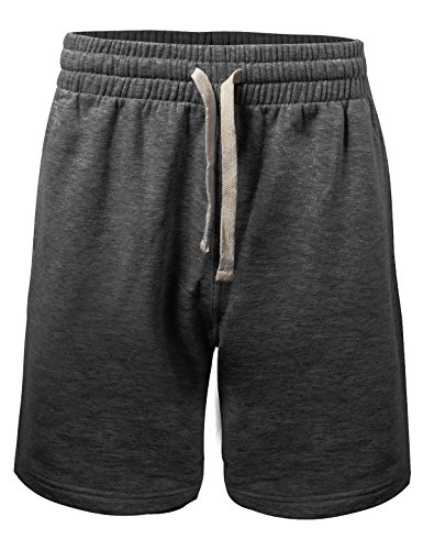 ProGo Men's Casual Basic Fleece Marled Shorts Pants with Elastic Waist (Charcoal, Medium)