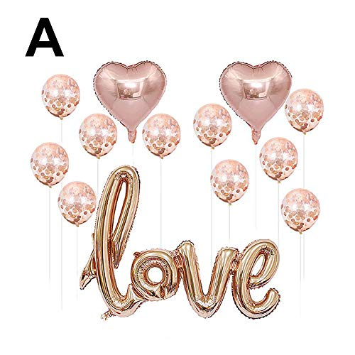 Minear Love Ballon Decoratie, 13 stuks, aluminiumfolie, roségoud, ballon met pailletten, feestbenodigdheden voor Valentijnsdag, bruiloft, decoratie