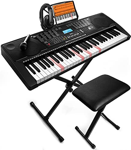 JIKADA 61 Key Portable Electronic Keyboard Piano w/Lighted Full Size Keys,LCD,Headphones,X-Stand,Stool,Music Rest,Microphone,Note Stickers,Built-In Speakers,3 Teaching Modes,Ideal for Beginner Adult