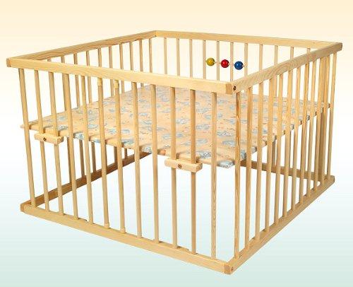 Kidsmax Laufgitter David 120x120 Kiefer klar lackiert inkl. Holzkugeln, Polsterboden, Schlupfsprossen, Höhenverstellung und Rollen