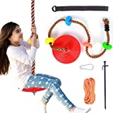 Ohuhu Climbing Rope Tree Swing with Platforms and Disc Swings Seat - Playground Outdoor Flying Swing for Kids - Easy Install, Great for Playground Swing, Backyard