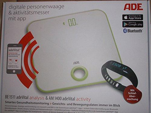 ADE BA 1511 adeVital Analysis - Körperanlysewaage + Aktivitätsmesser AM 1400 - Bluetooth - passende App für Android und iOS
