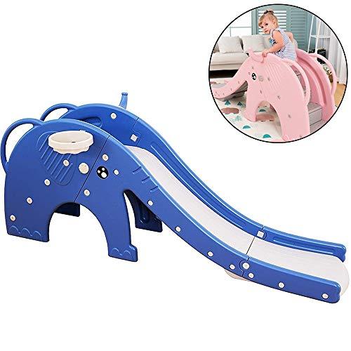 Kinderglijbaan Elephant Slide Kids 3 in 1 Klimmer Slide Speeltoestel Met Closed Pedal Basketbal Hoo Huls, Voor Jongens/Meisjes