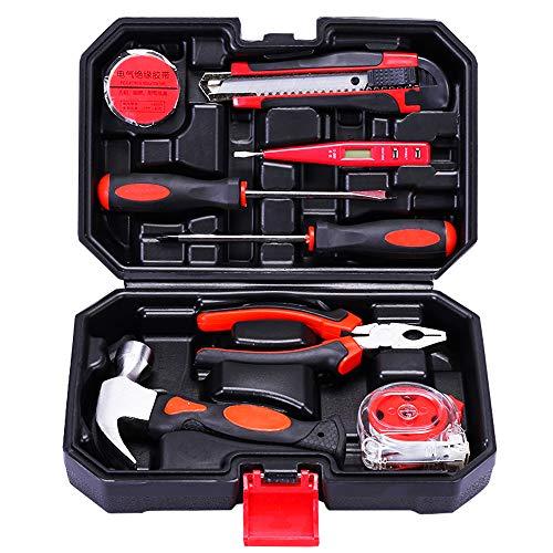 Kit de herramientas de bricolaje de acero al carbono con caja de plástico para el hogar (9 piezas)