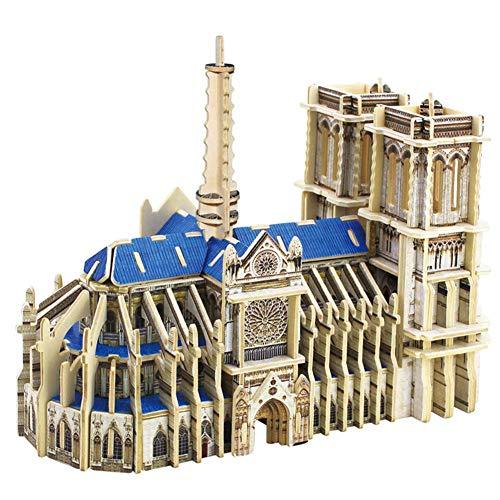 Modelo de construcción de madera 3D, modelo de Notre Dame Modelo arquitectónico de bricolaje No se requieren costuras de cola 148 ensamblaje de tableros Juego de cerebro Patrón decorativo Regalo