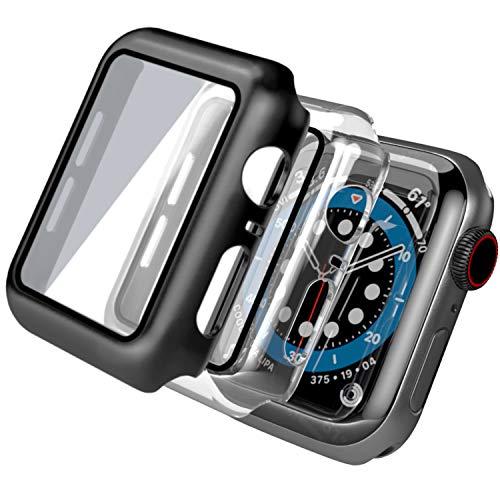 【3 Pezzi】 Cover Apple Watch Series 6/SE/Serie 5/Series 4 con Vetro Temperato 44mm, PEMOTech Custodia Rigida iWatch Protezione Totale Ultra Sottile HD Clear Pellicola Protettiva per Apple Watch