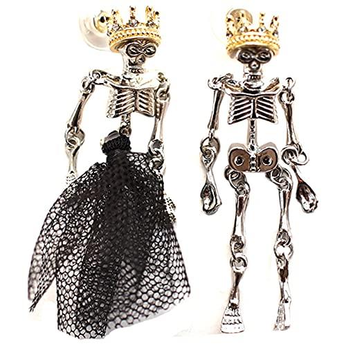 APCHY Halloween Hombre Hueso Pendientes Drop Lover Zombie Especial Steampunk Stud Pendientes Halloween Party Horror Personalidad Adornos,Negro