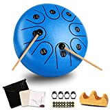 Steel Tongue Drum,6 Inch 8 Note adult Handpan Drum Percussion Instrument with Travel Bag and Drumsticks for Beginner Drummers, Music Education Concert Spiritual Healing Yoga (Blue)
