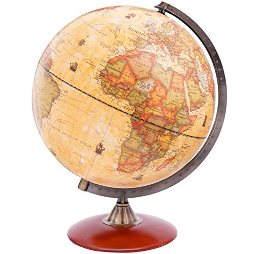 Exerz Antique Globe Dia 12-inch / 30 cm with A Wood Base, Vintage Decorative Political Desktop World - Rotating Full Earth Geography Educational - for Kids, Adults, School, Home, Office (Dia 12-inch)