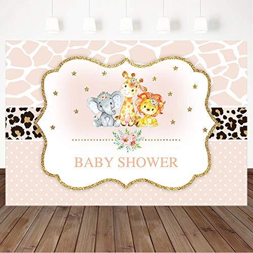 Brillo de Fondo Babyland Baby Shower Animal león Elefante Flor Postre Mesa decoración Buna Telón de Fondo Personalizado de Boda Photo Booth Telones de Fondo para fotógrafos Banner de Fondo d