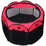 KEESIN Foldable Pet Tent 8-Panel Mesh House Puppy Playpen Kennel for Dog Cat