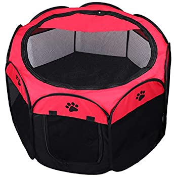 KEESIN Tente pour Animaux de Compagnie Pliable, Maison en Résille à 8 Ppanneaux, Chenil de Parc à Chiots pour Chien, Chat et Lapin(Rouge,S)