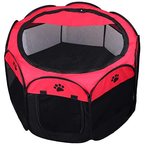 KEESIN Tenda Pieghevole per Animali Domestici, Casa in Rete a 8 Pannelli Box per Cani, Cuccioli,Gatti,73 * 73 * 43cm,Rosso