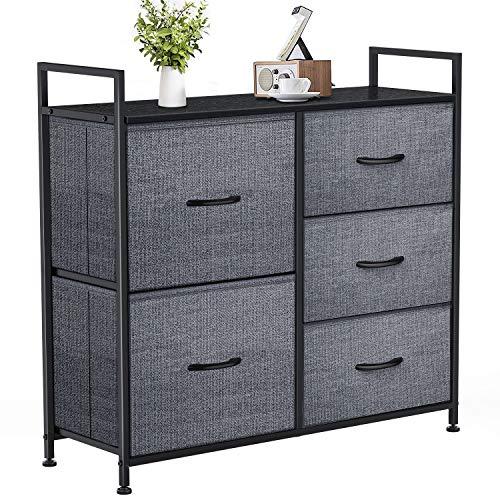 Yesker Dresser with 5 Drawers for Bedroom - Storage Tower, Bedside Furniture & Night Stand End Table Dresser for Home, Office, College Dorm, Sturdy Steel Frame Organizer, Wood Top (Dark Grey)