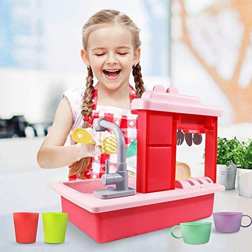 HGYYIO Geschirrspüler Waschen Rollenspiele Elektrische Spülmaschine Geschirrspülmittel Spielzeug Küchenspüle Lernspielzeug Für Jungen Mädchen Ab 3+ Jahren