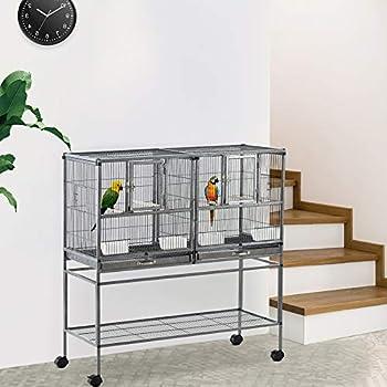 Pawhut Cage à Oiseaux avec séparation mangeoire et perchoir 95L x 45l x 102H cm Noir et Gris