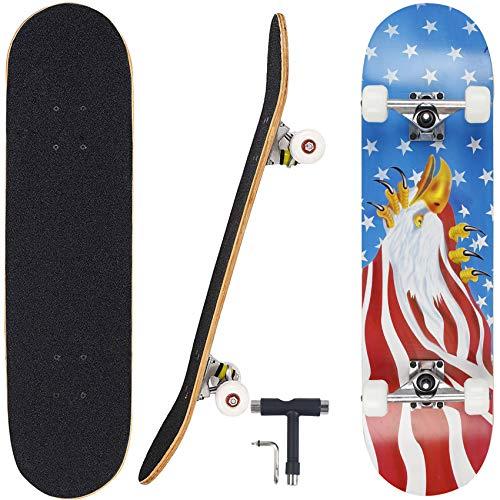 "Geelife skateboard 7 layers decks 31""x8"" pro complete skate board maple wood longboards for teens adults beginners girls boys kids (blue eagle)"