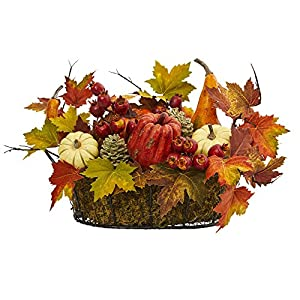 Nearly Natural Artificial Multi Color 1 Pumpkin, Gourd, Berry and Maple Leaf Arrangement