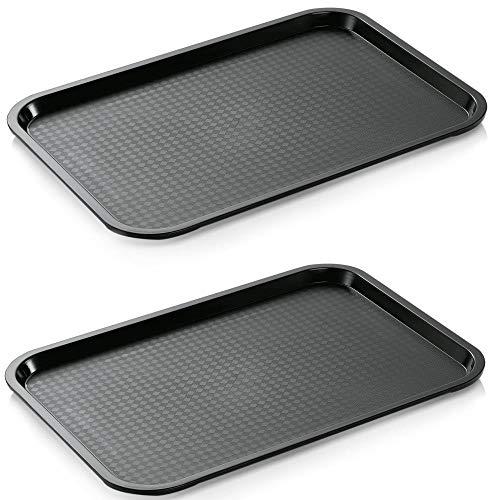 2x Gastro-Tablett, schwarz, rutschhemmend 35 x 27 cm aus Kunststoff Polypropylen