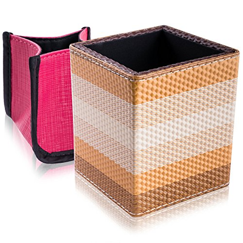 SHANY 2-in-1 Water-Resistant Makeup Brush Holder with Removable Cosmetics Organizer Insert, Bronzed Caramel, 0.53 Pound