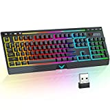 【Pretty Rainbow Backlight】 TopMate K21 wireless gaming keyboard uses a new generation of LED light-emitting devices, and the keyboard backlight effect is increased by 20%. The keyboard can present fascinating lighting effects, the keys character can ...