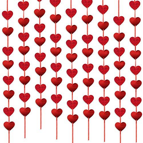 BHGT 2m*9pz Striscione Cuori Rossi Decorazione Appesso Festoni Ghirlanda da Appendere Soffitto Festa Compleanno Matrimonio Anniversario Valentine's Day
