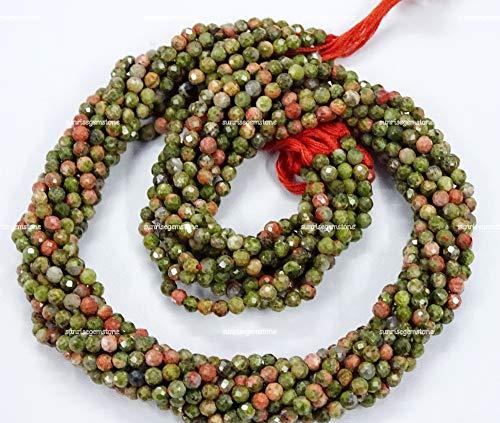 Unakite Beads AAA - Cuentas redondas de 3 mm de calidad AAA de Unakite (13 pulgadas), cuentas de piedras preciosas sueltas de Unakite