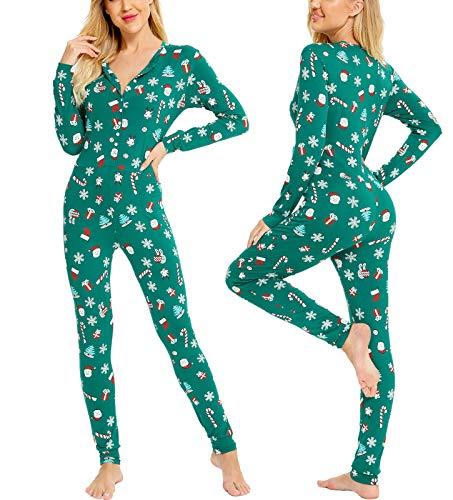 LecGee Womens Pajama Jumpsuits Christmas One Piece Sleepwear Button Bodysuit Modal Underwear Set Long Sleeve Union Suit